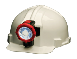 Koehler Cordless Wheat Cap Lamp, attached to helmet